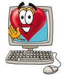 Clip Art Graphic of a Red Love Heart Cartoon Character